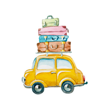 Watercolor illustration. hand drawn yellow car with suitcase on the roof. family travelling by car.
