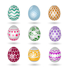 Wall Mural - Happy easter eggs icons. Colored vector paschal egg set with decoration pattern isolated on white background