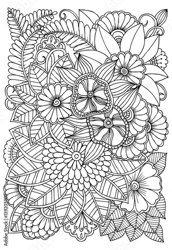 Black And White Flower Pattern For Coloring