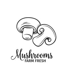 Hand drawn mushrooms icon.