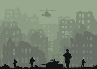 Illustration of the ruined city, exploded tanks, helicopters and soldiers.