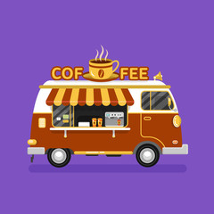Flat design vector illustration of coffee van. Mobile retro vintage shop truck icon with signboard with big hot cup of coffee. Side view, isolated. Hot drinks on wheels concept.