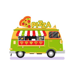 Flat design vector illustration of fast food van. Mobile retro vintage shop truck icon with signboard with big slice of pizza in heart shape. Side view, isolated on white background.