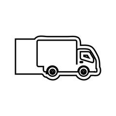 monochrome contour emblem with truck vector illustration