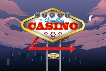 casino night sign board