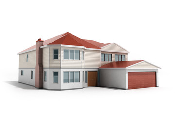 House Three-dimensional image 3d render on white background