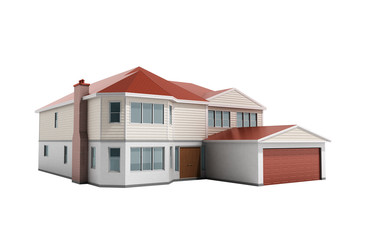 House Three-dimensional image 3d render on white no shadow
