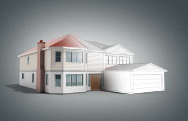 House Three-dimensional image building concept 3d render on grey