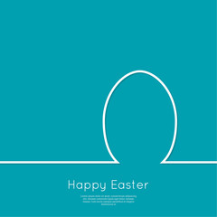Happy easter cards illustration with egg. minimal outline. Vector  isolated. Abstract background. blue