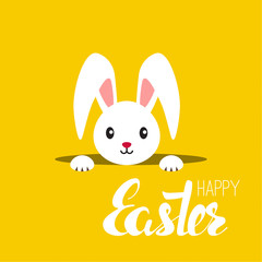 Happy easter cards illustration with rabbit, bunny. Abstract background. Easter inscription. Vector calligraphy isolated. Hand drawn lettering. yellow