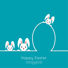 Happy easter cards illustration with egg, rabbit, bunny. minimal outline. Vector  isolated. Abstract background. blue