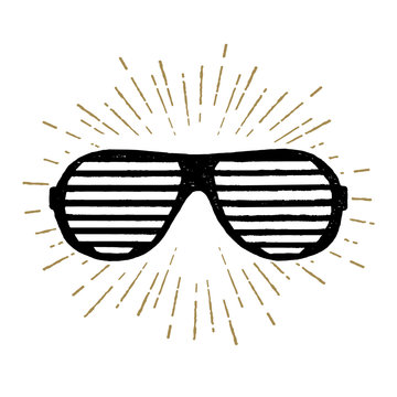 Hand drawn 90s themed icon with a striped sunglasses textured vector illustration.