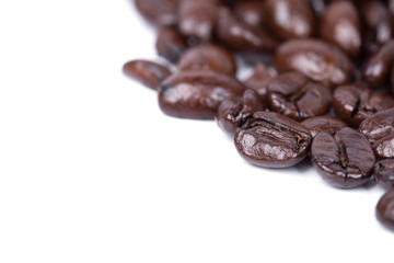 Coffee beans isoalted on white background blank for text
