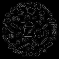Vector white bread icon set on black background