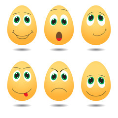 Vector illustration of cute eggs with expressions