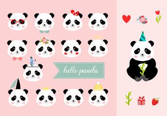 Set of panda girl heads, vector illustration