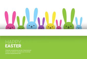 Rabbit Easter Holiday Bunny Symbols Greeting Card Vector Illustration