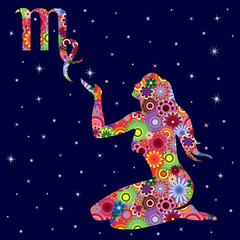 Zodiac sign Virgo with flowers fill over starry sky