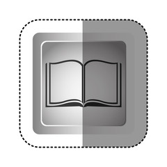 sticker grayscale square frame with opened book vector illustration