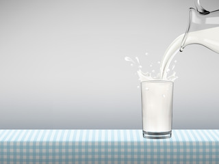 Milk pouring from jug in transparent glass with bottle standing on a table covered by blue checkered napkin in front of gray background, Healthy lifestyle vector concept illustration.