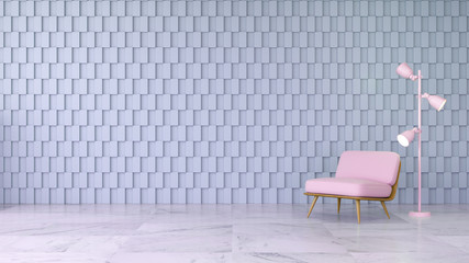 Modern room interior design ,pink chair  on marble floor and gray square wall ,3d render