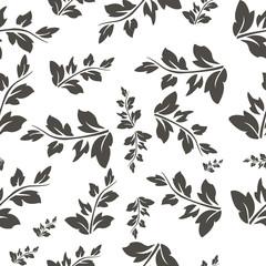 Background of rowan leaves black white