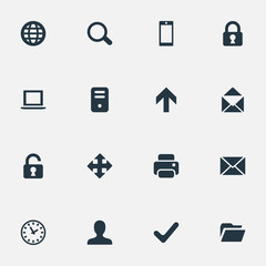 Set Of 16 Simple Application Icons. Can Be Found Such Elements As Watch, Lock, Computer Case And Other.