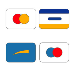 set of vector images of credit cards