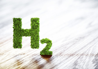 Green hydrogen element sign on blurred wooden background. 3D illustration.