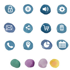 Set of social media buttons for design - vector icons.universal icons for your website, shopping cart, mail, button, phone, arrows, settings, wifi, calendar