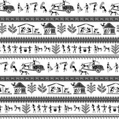 seamless warli tribal art