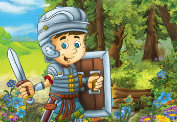 happy smiling cartoon roman soldier standing with sword and shield in the forest