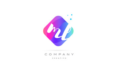 ml m l  pink blue rhombus abstract hand written company letter logo icon