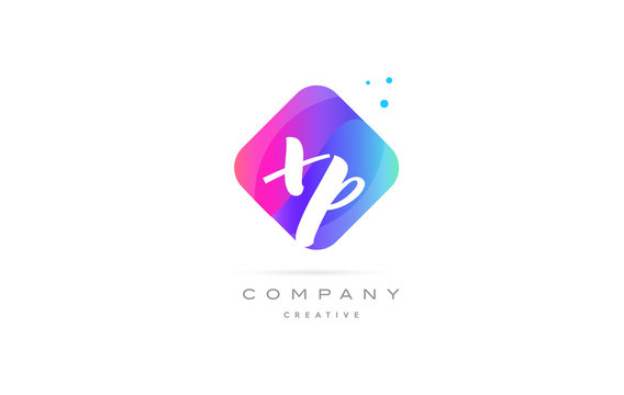 xp x p  pink blue rhombus abstract hand written company letter logo icon