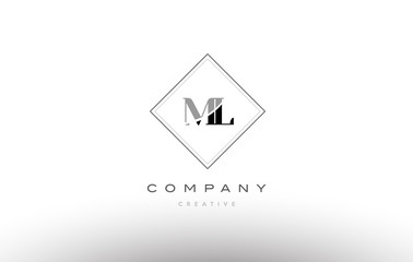 ml m l  retro vintage black white alphabet letter logo