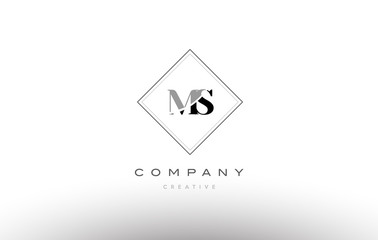 ms m s  retro vintage black white alphabet letter logo