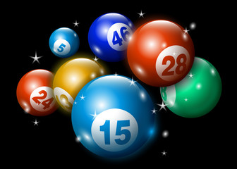 3D Lottery Keno Number Ball Sparkling on Dark
