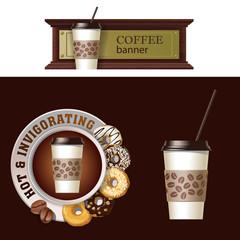 Set of vector banner, badge, sticker with icon coffee beans and saucer with donuts