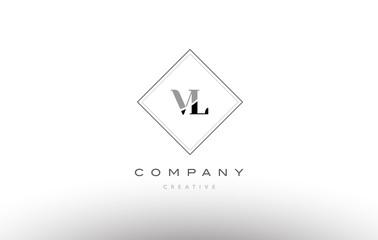 vl v l  retro vintage black white alphabet letter logo