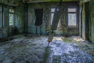 empty room in barracks of Chernobyl-2, military base next to Duga-3 Soviet radar, Ukraine
