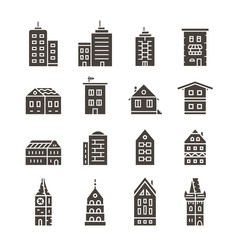 City building vector icon set. Icons. Collection of home