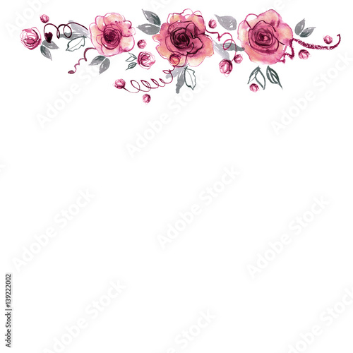 """""""Cute Watercolor Flower Background With Roses. Invitation"""