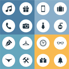 Set Of 16 Simple Accessories Icons. Can Be Found Such Elements As Mobile Phone, Repair, Ink Pencil And Other.