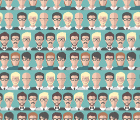 Vector seamless pattern of different businessman app icons in glasses in flat style. Background of office team images.