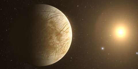 A rendered Image of the Jupiter Moon Europa on a starry background.