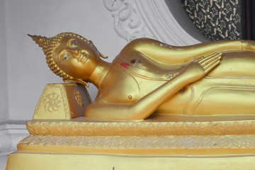 buddha statue  sleep  ancient  in the Thai temple