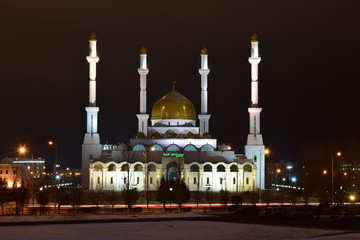 The NUR ASTANA mosque in Astana, capital of Kazakhstan, at night