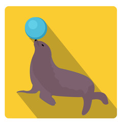 Sea lion with a ball, circus icon flat style with long shadows, isolated on white background. Vector illustration