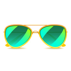 Green mirror sunglasses isolated on white vector