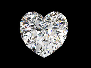 Heart shape diamond with caustic light isolated on black background. 3d